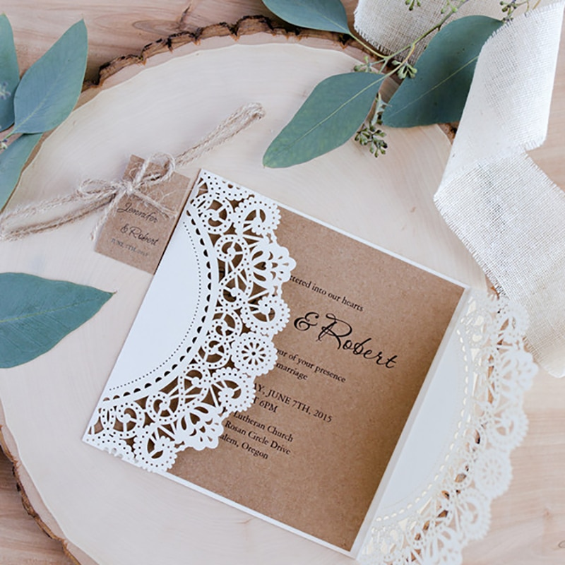 1 Pack wholesale Design Ribbons Flower Bow Laser Cut Wedding Invitations Cards custom Whtie west cowboy Type Print Lace Invite