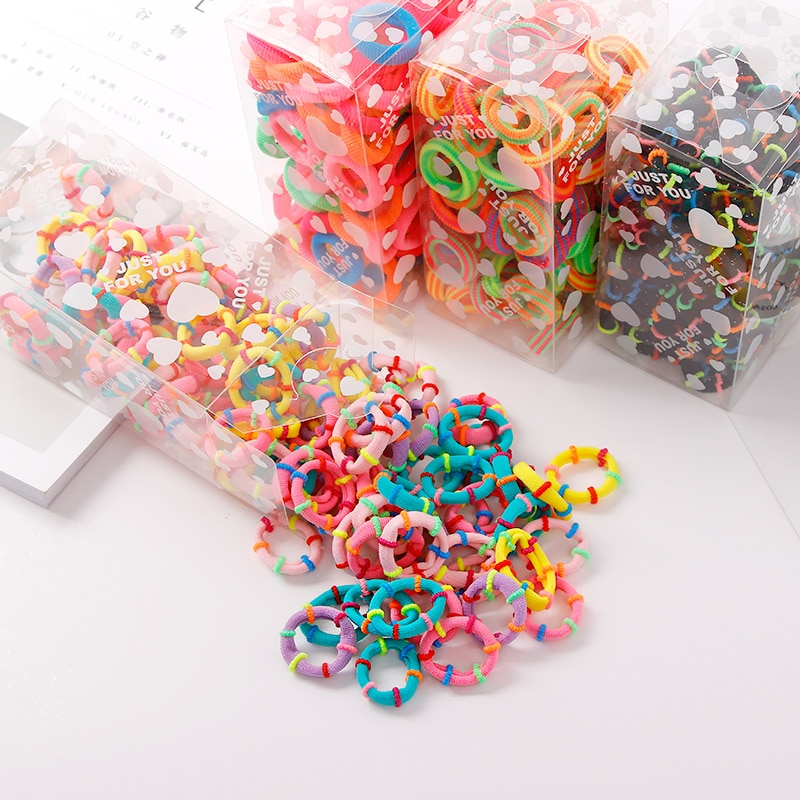 100PCS/Lot 3.0CM Children Cute Small Ring Rubber Bands Tie Gum Ponytail Holder Elastic Hair Band Headband Girls Hair Accessories