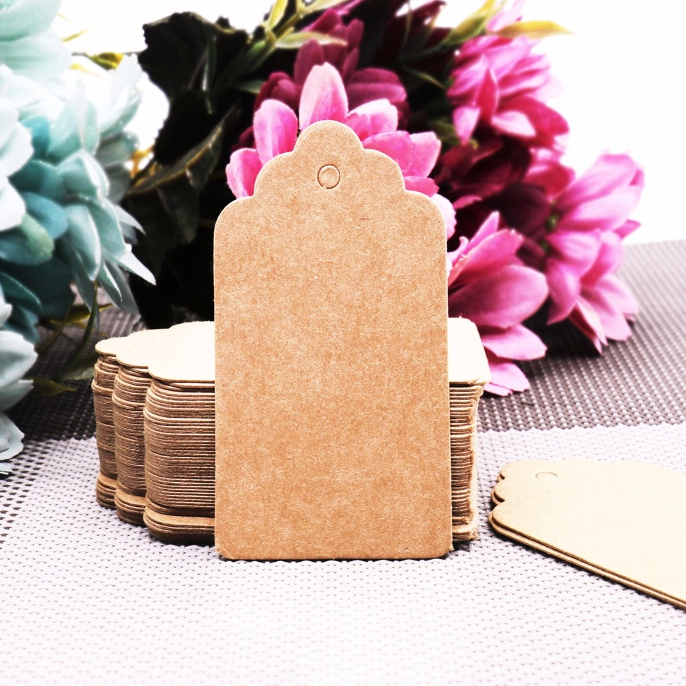 100Pcs/lot DIY Kraft Paper Tags Scalloped Rectangle Christmas Wedding Favour Party Gift Card Label Blank Luggage Tags 3 Colors