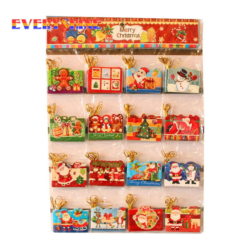 12pcs/lot Santa Claus Mini Greeting Cards Message Card Christmas Holiday Blessing Card Christmas Tree Hanging Ornaments SD287
