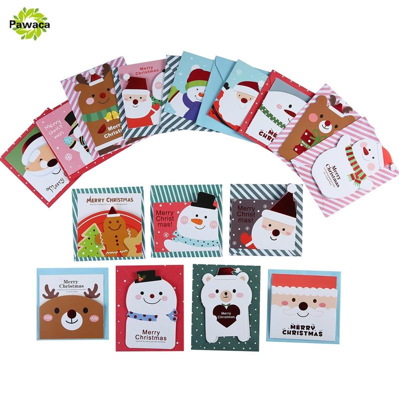 16 card+16 envelope /lot Cute Cartoon Small Santa Claus Snowman Merry Christmas Postcard Greeting Card Gift Card Christmas Cards