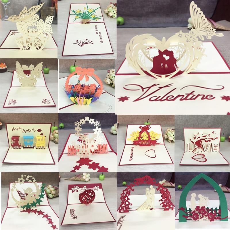 1pcs Handmade 3D Laser Cut Paper Greeting Pop Up Kirigami Card Wedding Invitation Valentine's Day Postcards Thanksgiving Gifts