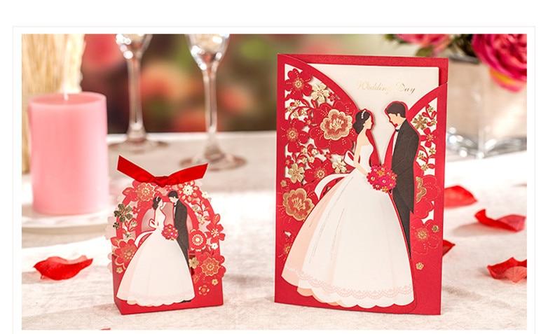 1set Red Luxury Flora Wedding Invitations Card Elegant Bride and Groom Invitation Card  Favor Envelopes Wedding Party Decoration