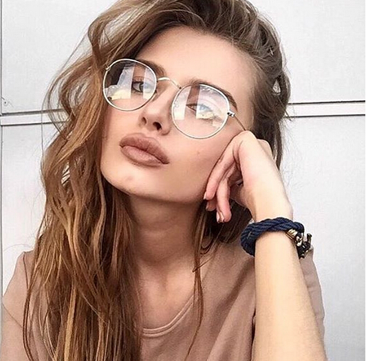 2018 New Designer Woman Glasses Optical Frames Metal Round Glasses Frame Clear lens Eyeware Black Silver Gold Eye Glass