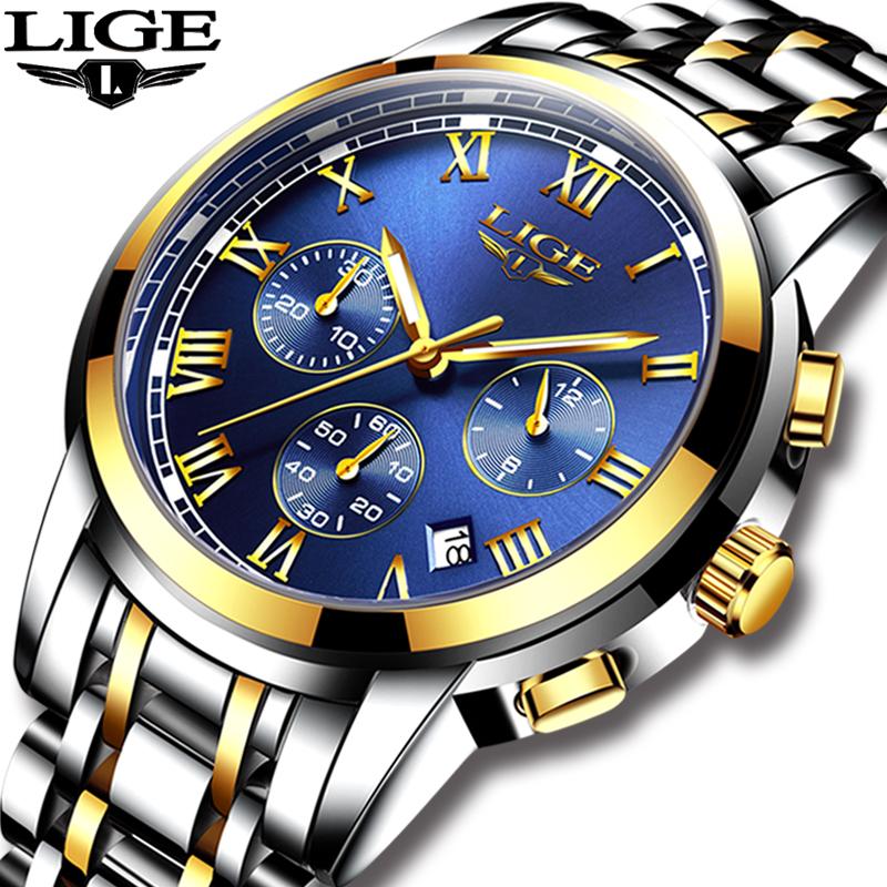 2018 New Watches Men Luxury Brand LIGE Chronograph Men Sports Watches Waterproof Full Steel Quartz Men's Watch Relogio Masculino