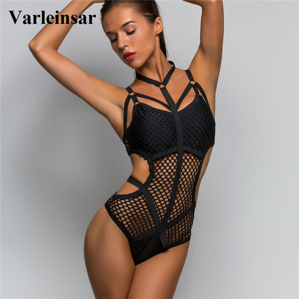 2019 Black White Sheer Knit Net Mesh Sexy Women Swimwear One Piece Swimsuit Female Bather Bathing Suit Swim Halter Monokini V536
