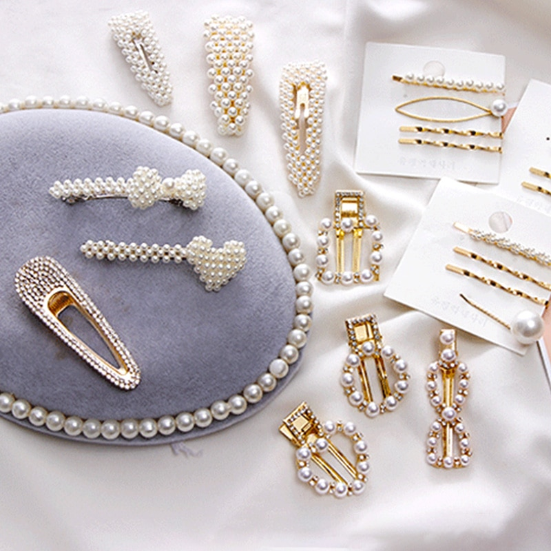 2019 Hot Sale Women Girls Elegant Pearl Geometric Alloy Hair Clips Barrettes Headwear Hairpins Headbands Female Hair Accessories