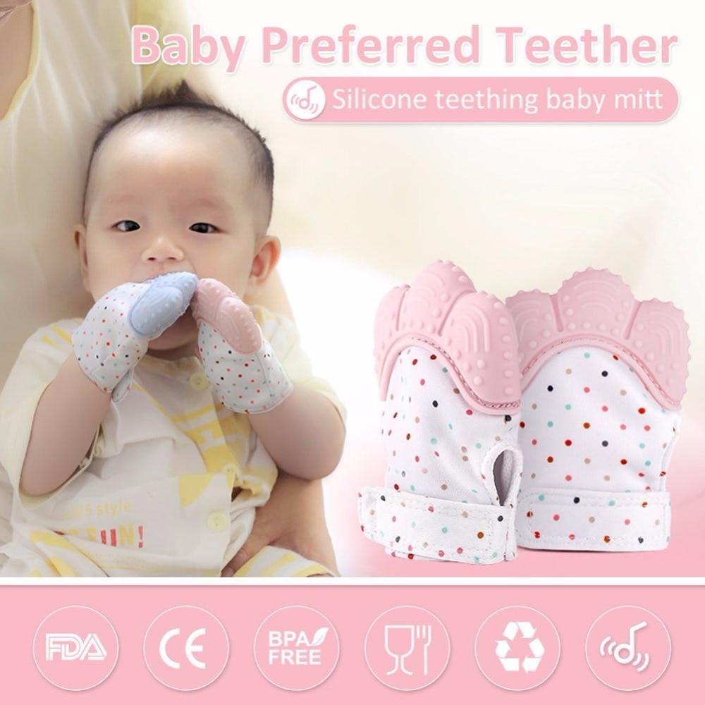 2019 Newborn Baby Gloves Silicone Baby Mitt Teething Mitten Teething Glove Candy Wrapper Sound Teether