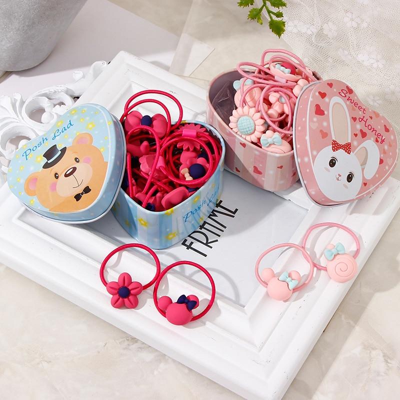 20pcs/Lot New Gift Box Packed Girls Cute Cartoon Elastic Hair Bands Headwear Scrunchies Rubber Bands Headbands Hair Accessories