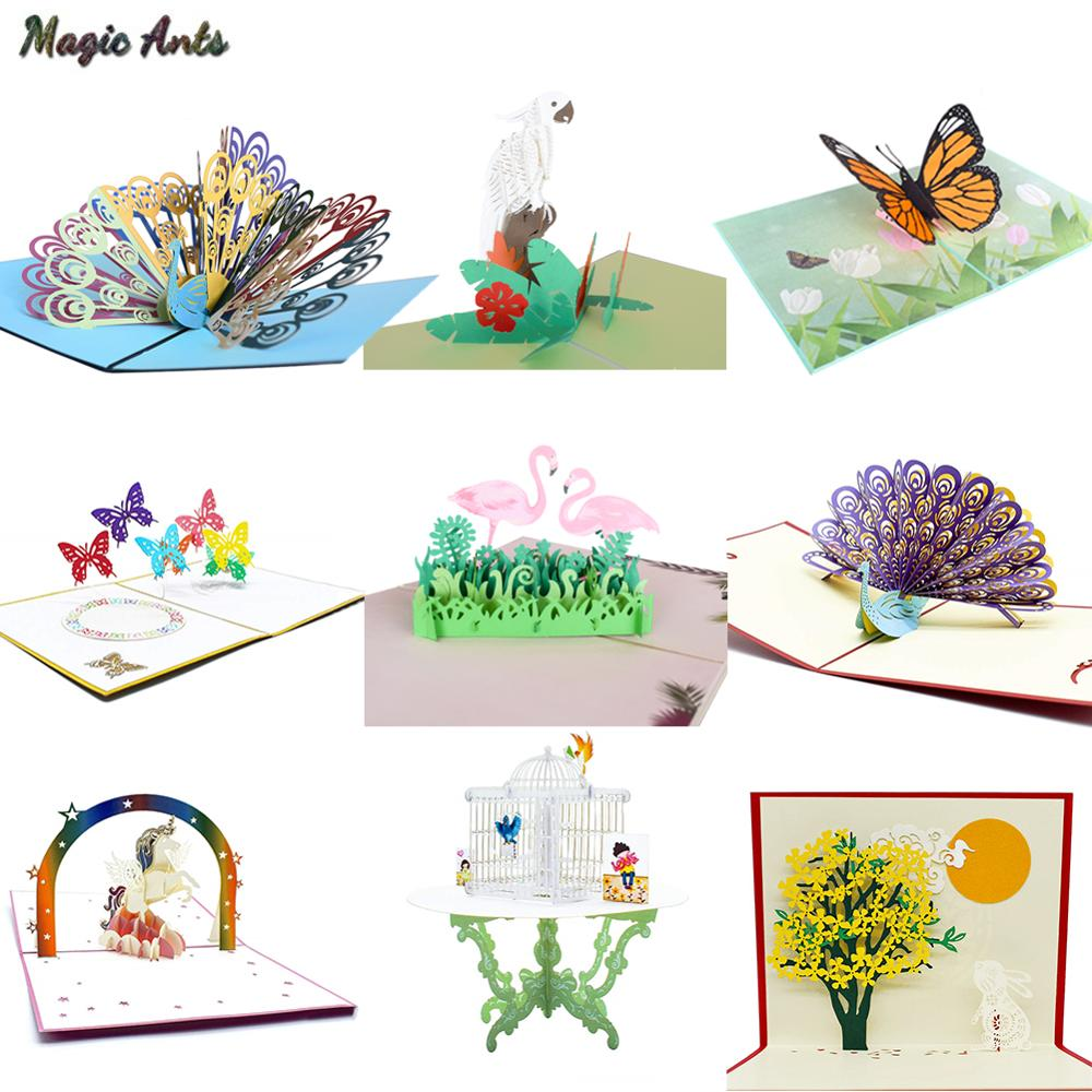 3D Cute Animal Pop Up Cards Happy Birthday Card for Kids Baby Shower Wife Husband Women Cartoon Peacock Birdcage Train Sailboat