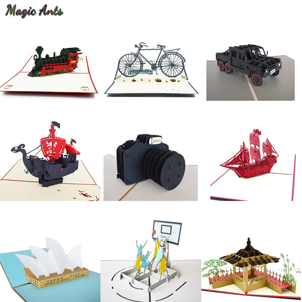 3D Pop UP Cards Birthday Graduations Card Fathers Day Gift Card Souvenirs lifelike Model Gifts for Boy Dad Kids Father