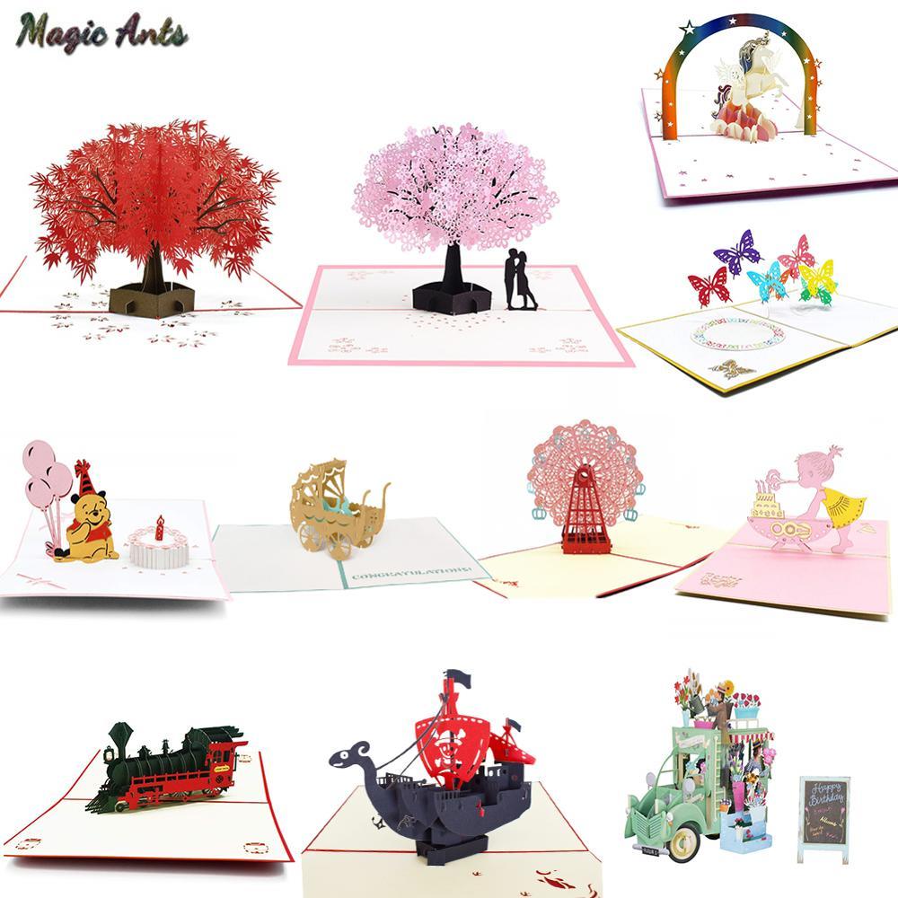 3D Pop UP Cards Flowers Birthday Card Anniversary Gifts Postcard Unicorn Maple Cherry Tree Wedding Invitations Greeting Cards