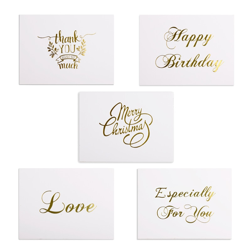 48pcs Mini Gold Embossed Thank you Card Valentine Happy Birthday Christmas Party Wedding Invitation Letter Greeting Cards