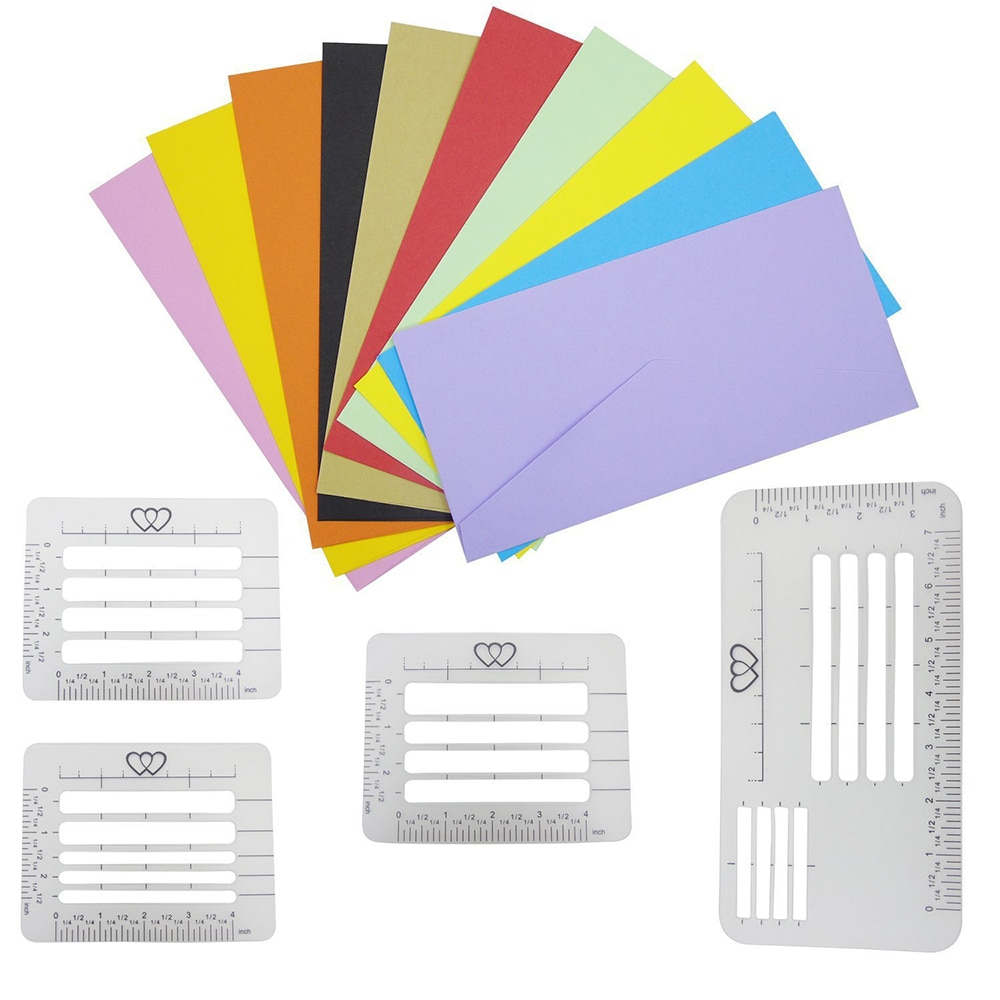 4Pc 4Style Envelope Addressing Craft Guide Stencil Templates Fits Wide Range of Envelopes, Thank You Card, Mother's Day ,wedding