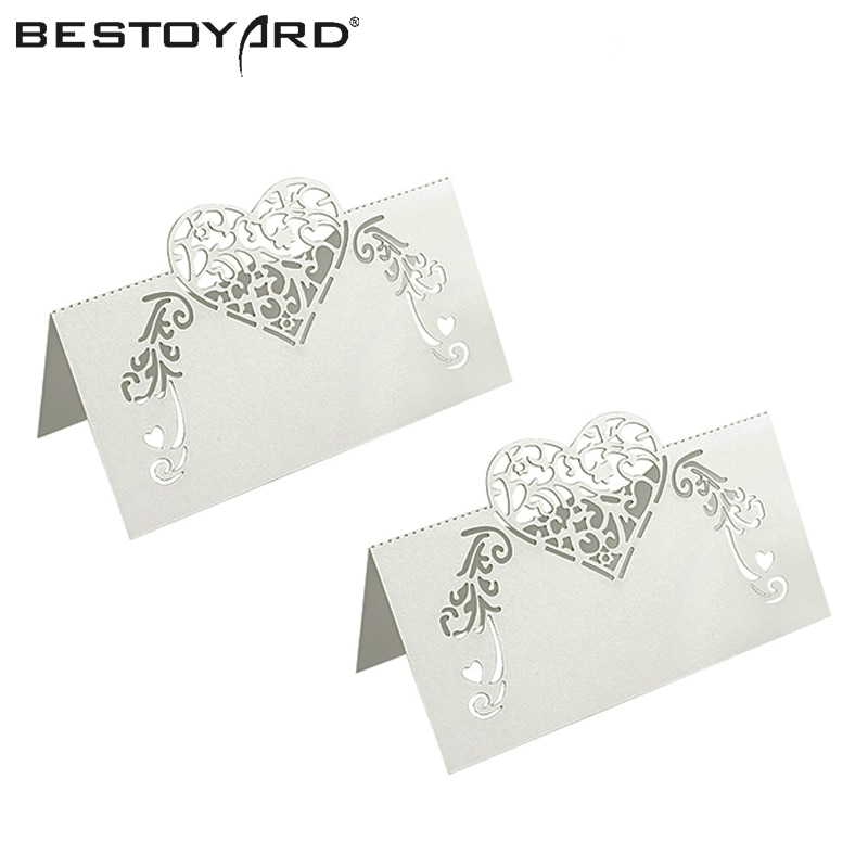 50pcs Laser Cut Heart Shape Table Name Card Place Card Wedding Party Decoration Favor