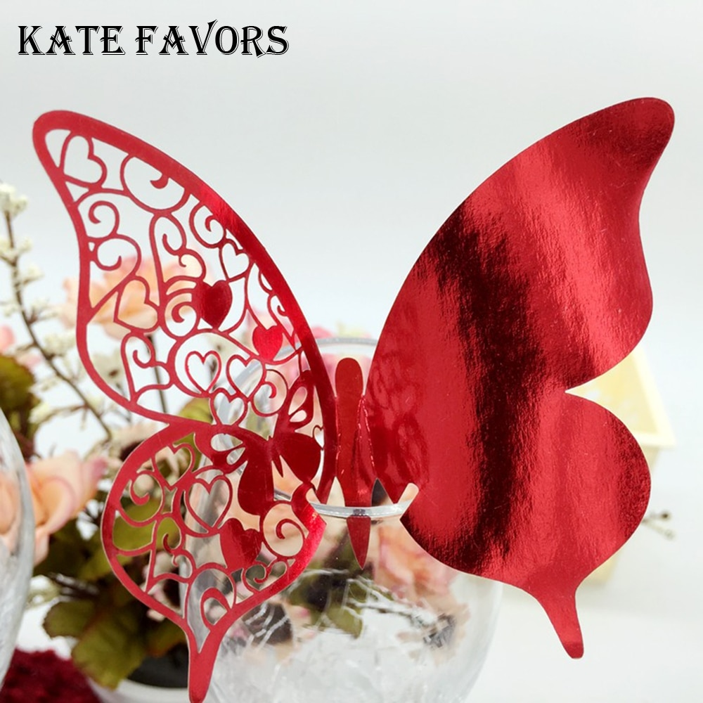 50pcs/lot Laser Cut-out Butterfly Wedding Birthday Party Table Name Wine Food Guest Seats Place Cards Favor Decoration