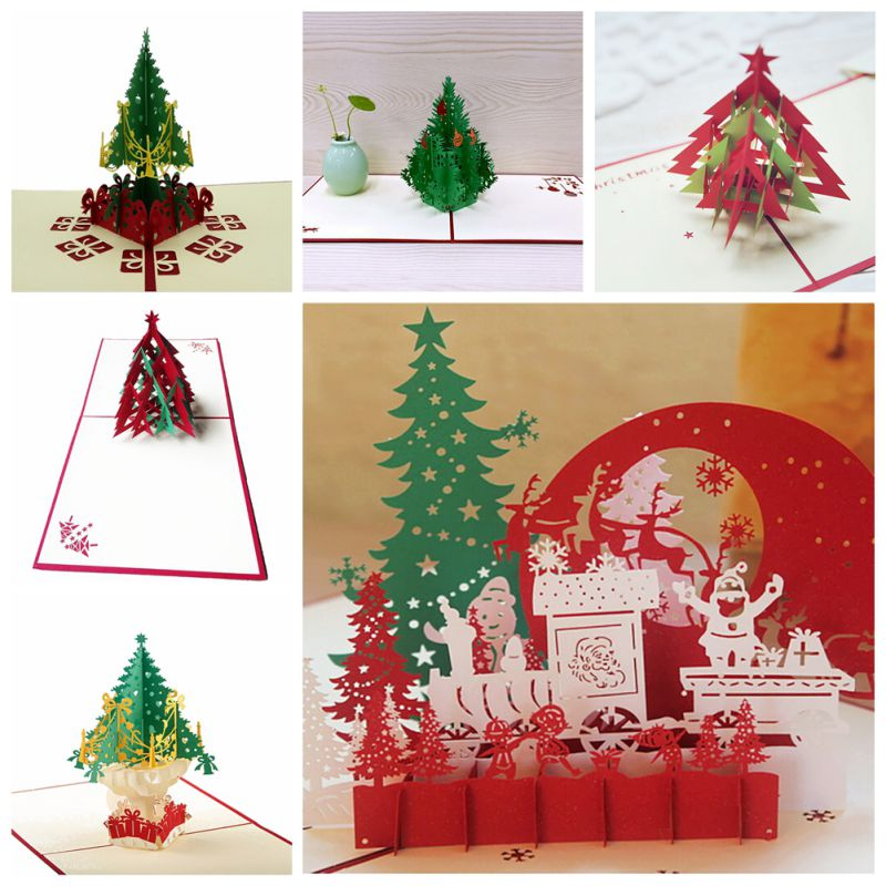 Christmas 3D Cards Pop Up Greeting Holiday Cards Gifts for Xmas New Year Gift Greeting Cards Paper Craft