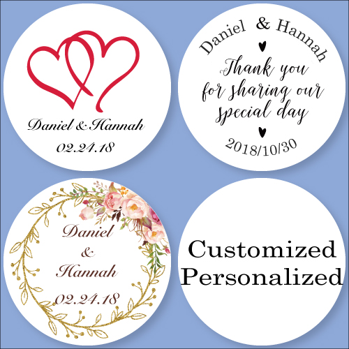 Customized Personalized Wedding Stickers, Logos, Birthday Candy Boxes Tags, Bottle Stickers Labels, Invitation Seals