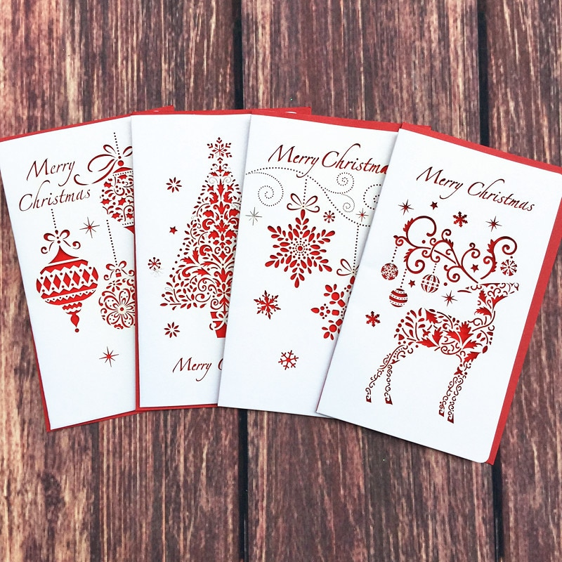 DoreenBeads Creative Paper Cutting Merry Christmas Cards Folding Xmas Blessing Card for New Year Christmas Gift Random Pattern