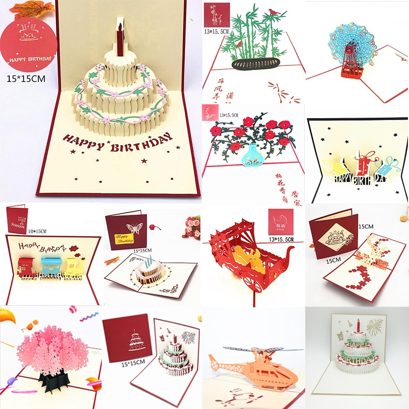 Happy Birthday Postcard Greeting Gift Cards Blank Paper 3D Handmade Pop Up Laser Cut Vintage Invitations Custom with Envelope
