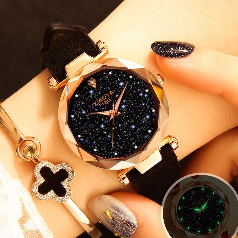 Ladies Watch 2018 New Casual Fashion Quartz Watch Starry Sky Multicolor Leather Wristwatch Simple Designer Women Clock Orologio