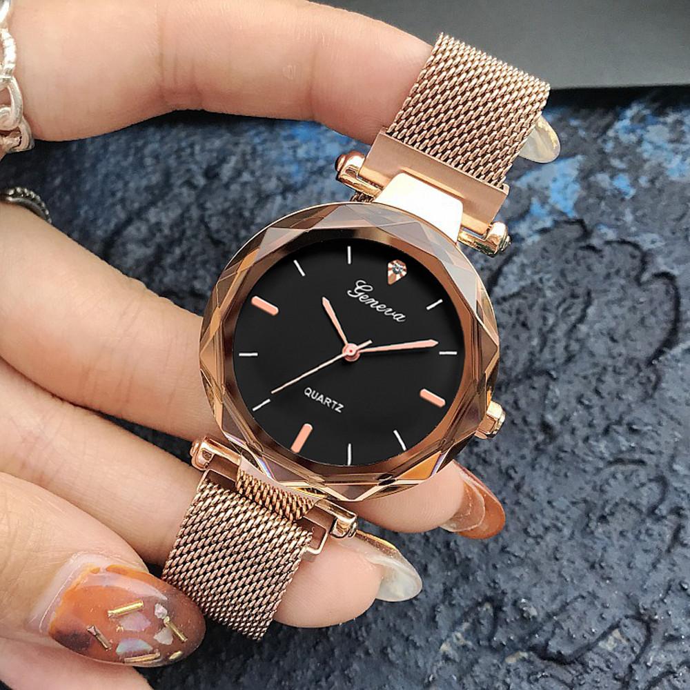 Luxury Rose Gold Women Watches Crystal Female Stainless Steel Mesh Quartz Wrist Watch Montre Femme 2018 Exquisite Ladies Watch