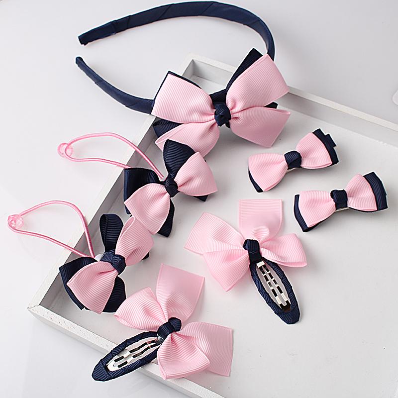 M MISM 1set=7pcs Children Accessories Hairband Hairpins Gum for Hair Baby Girls Lovely Bow Headwear Hair clip Headband