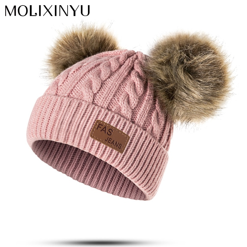 MOLIXINYU Baby Boys Girls Pom Poms Hat Children Winter Hat For Girls Knitted Beanies Thick Baby Hat Infant Toddler Warm Cap