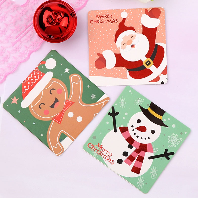 Mini Santa Claus Merry Christmas Tree Paper Greeting Postcards Wishes Craft DIY Kids Festival Greet Cards Gift Kawaii Stationery
