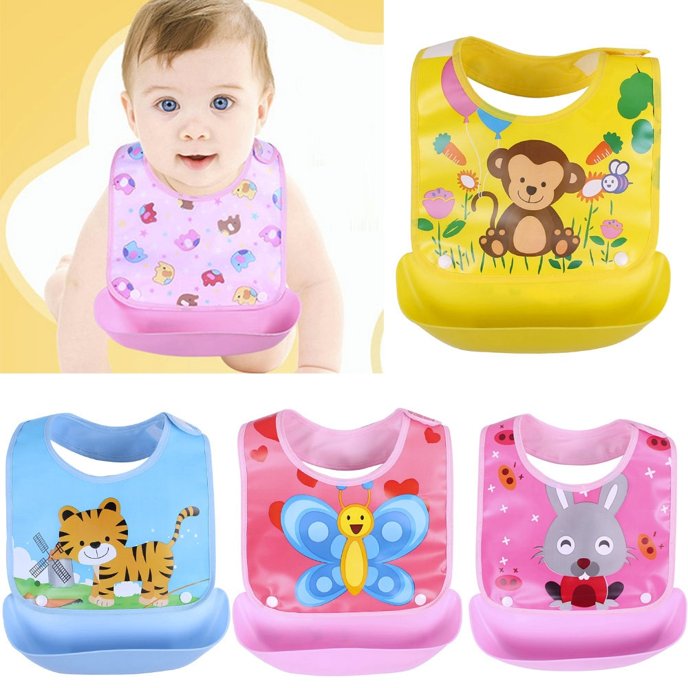 Newborn Baby Bibs Waterproof Baby Aprons Bib infant saliva towels cute baby cartoon bib baby slabbetjes plastic EVA baberos bebe