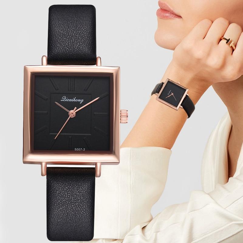 Top Brand Women Bracelet Square Watch Contracted Leather Crystal Wristwatches Women Dress Ladies Quartz Clock Dropshiping
