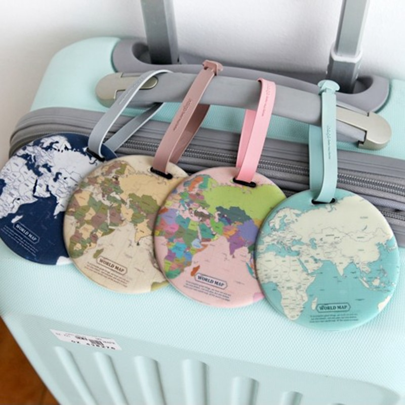 Travel accessories Luggage Tag Creative Casual Map Silica Gel Suitcase Id Address Holder Baggage Boarding Tag Portable Label