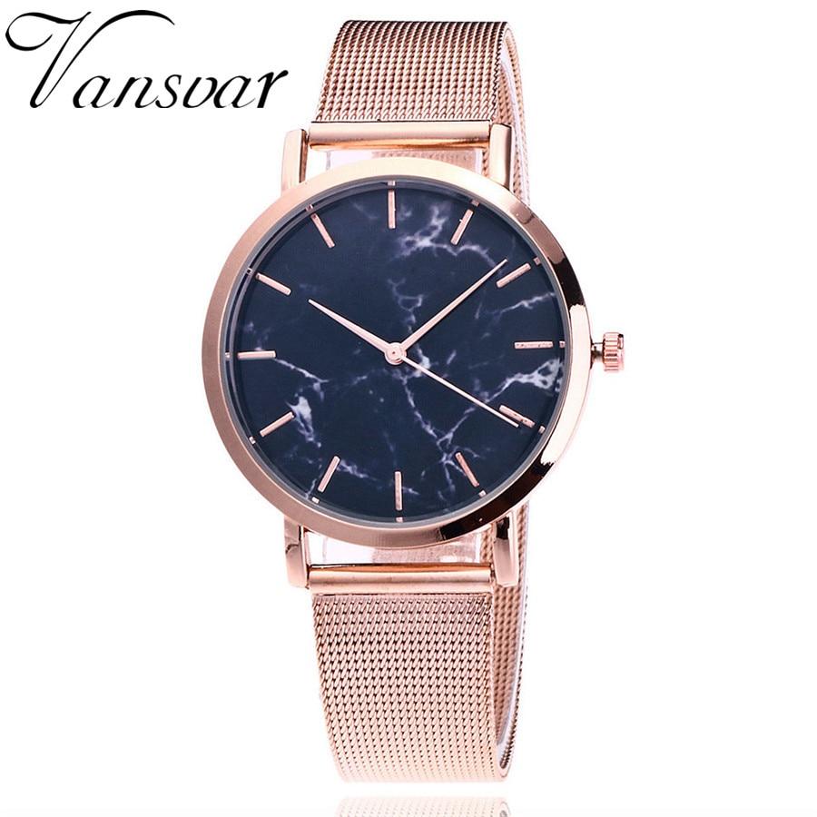 Vansvar Brand Fashion Silver And Gold Mesh Band Creative Marble Wrist Watch Casual Women Quartz Watches Gift Relogio Feminino