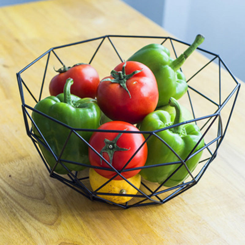 1 PC 27*14.5*13.5cm Modern Iron Art Fruit Vegetable Bowl Tray Plate Snack Candy Storage Container Basket Kitchen Decoration