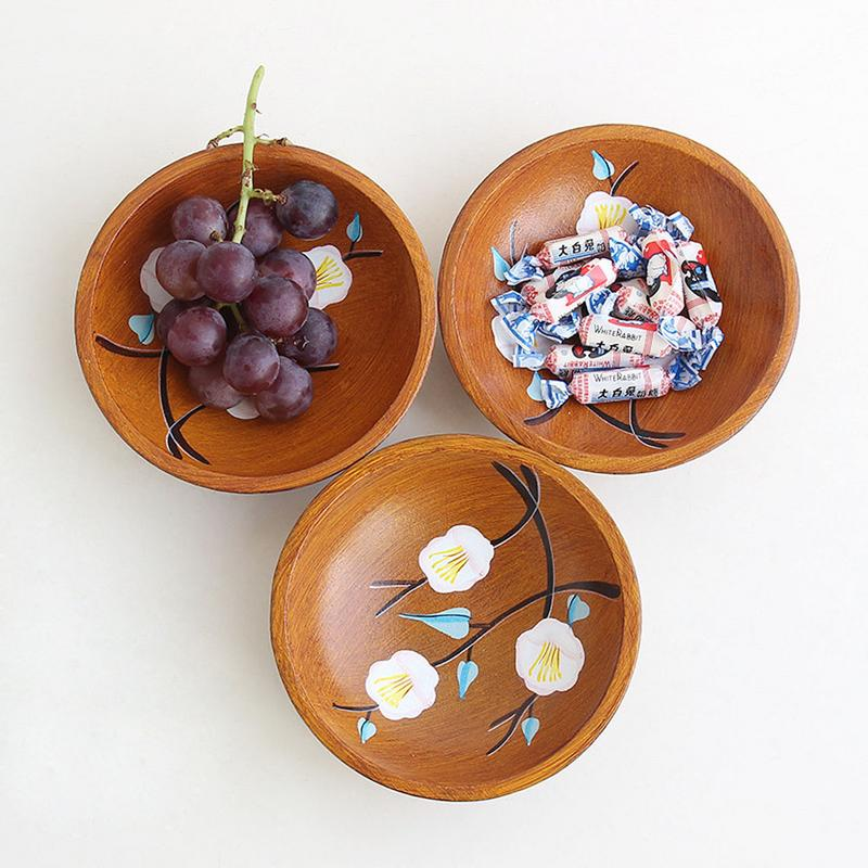 1 PCS Wood Plate Round Fruit Bowl Tray Tableware Candy Holder Salad Bowl Table Dining Decoration Storage Plate Party Supplies