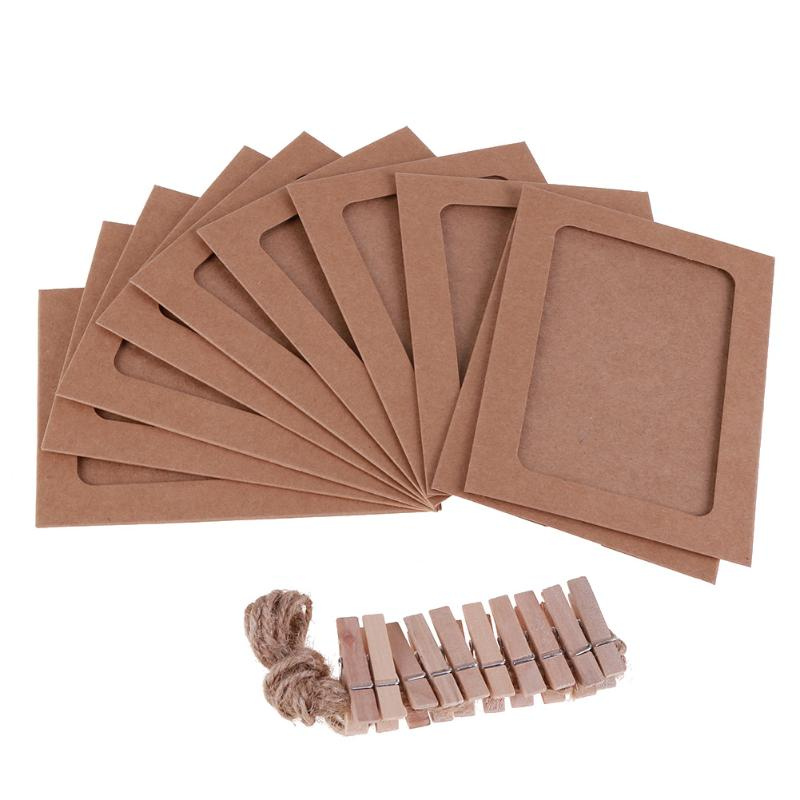 10 Pcs Combination Paper Frame with Clips and 2M Rope 3/4/5/6/7 Inch Wall Photo Frame DIY Hanging Picture Album Home Decoration