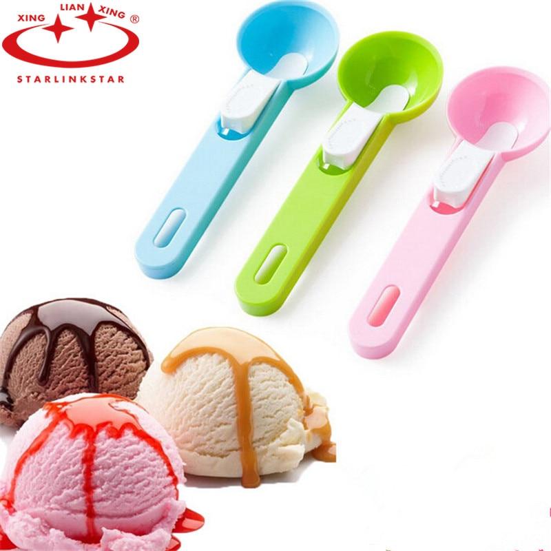 1Pcs New Arrival Plastic Ice Cream Scoop Spoon Melon Ball Dig Sphere Ball Fruit Ice Cream Jelly Spoon Scoop Tools