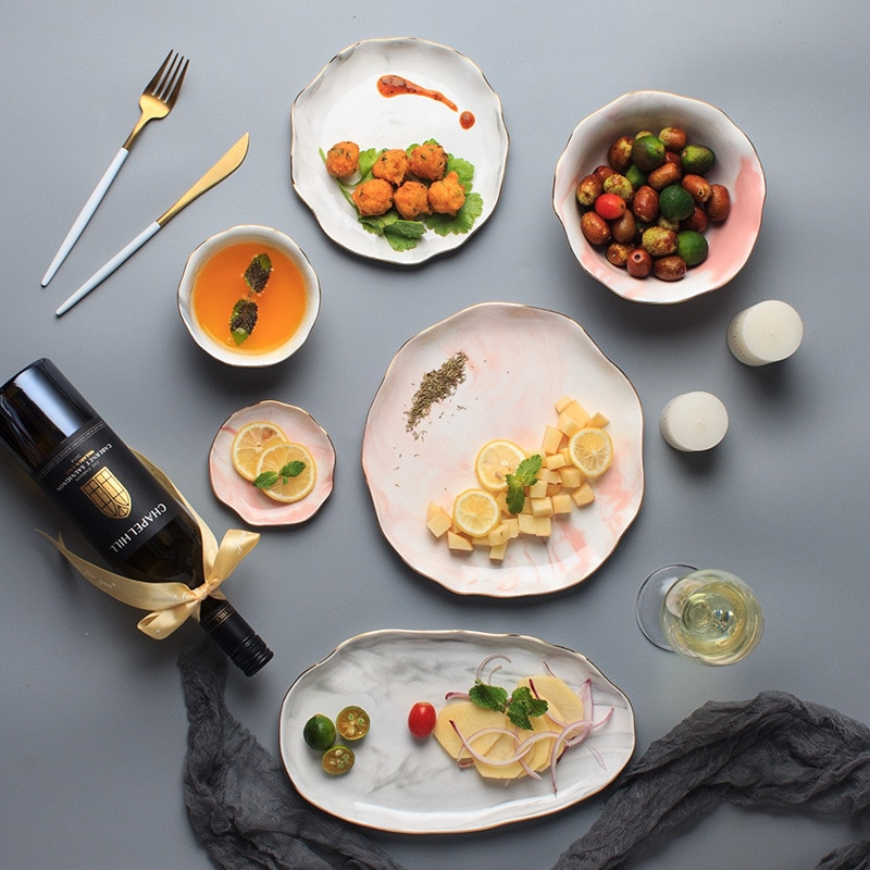 1pc Glod Marble Ceramic Dinner Dish Plate Rice Salad Noodles Soup Bowl Sauce Sushi Fish Plate Dinnerware Sets Tableware