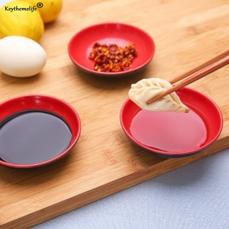 1pc Kitchen Bowl Dish Creative Red and Black Color Seasoning Soy Sauce Small Plates Kitchen Tool BF