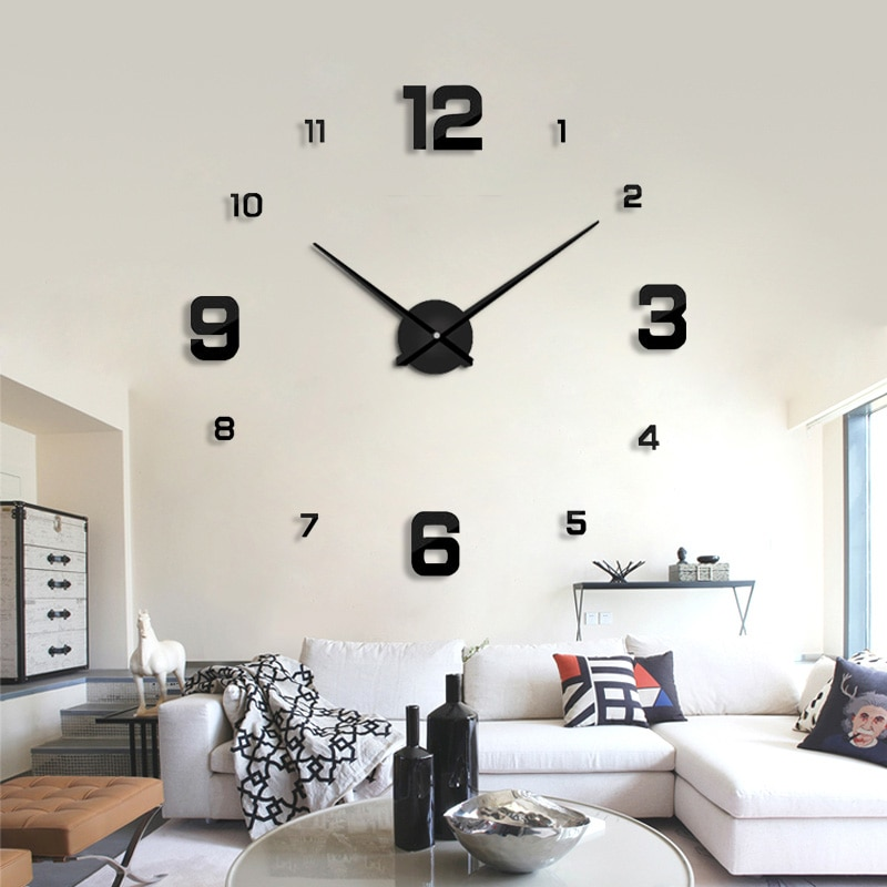 2018 modern design rushed Quartz clocks fashion watches mirror sticker diy living room decor new arrival 3d real big wall clock