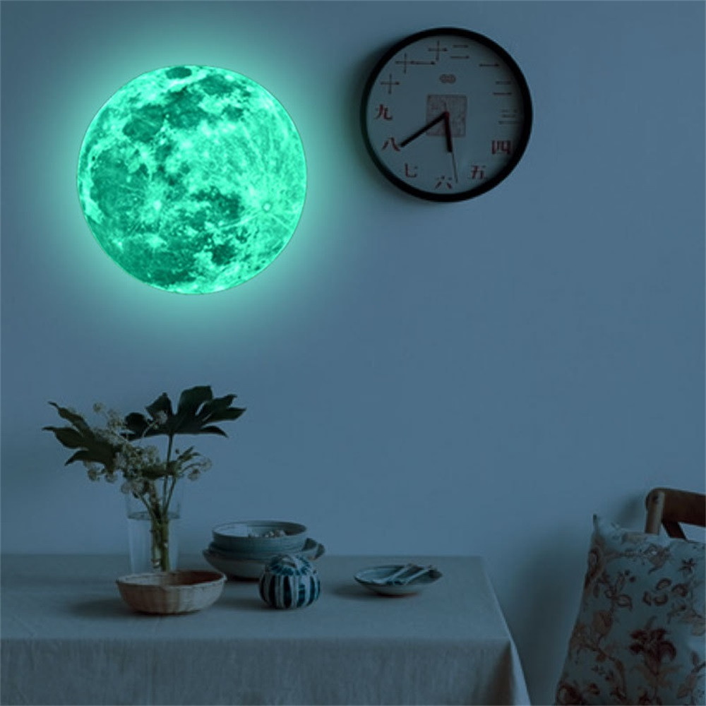 20cm 3D Large Moon Glow in the Dark Luminous DIY Wall Sticker Living Home Decor Adesivo De Parede Vinilos Paredes Stickers