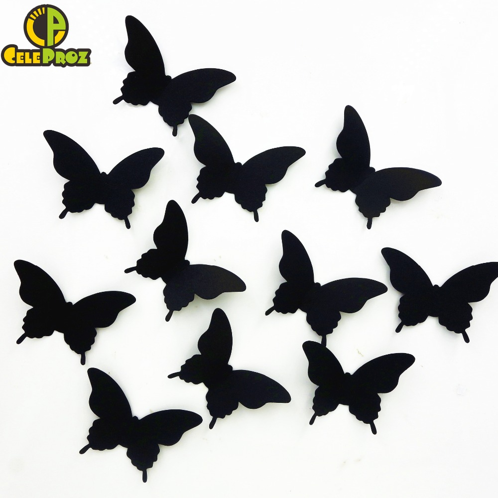 20pcs 3D Paper  Butterfly wall sticker decor Butterflies art Decal stickers on the home wall DIY Paper Decoration