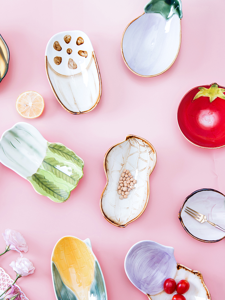 3D Small Cute Vegetable Ceramic Snack Dish PLate Dessert Bowl Japanese Snack Fruit Salad Bowl Jewelry Tray Decorative Tableware