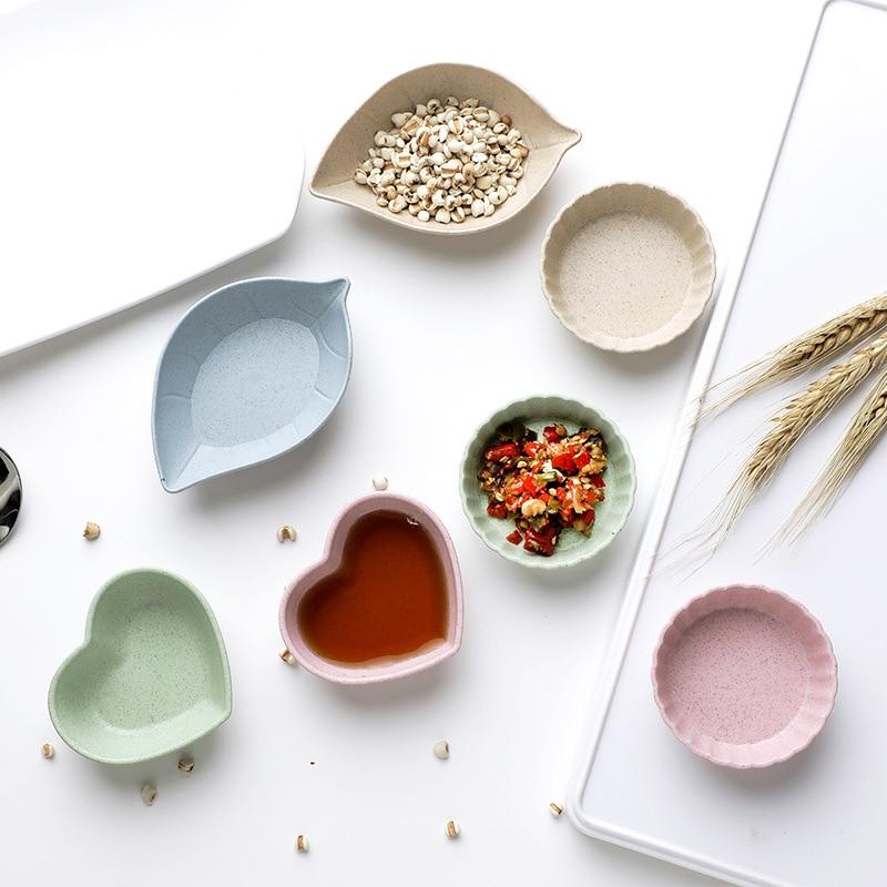 4 Pcs/lot Heart Flower Food Snack Butter Sauce Bowl Mini Cute Jam Dish Rice Bowl Plate Wheat Straw Plastic PP Dinner Plates