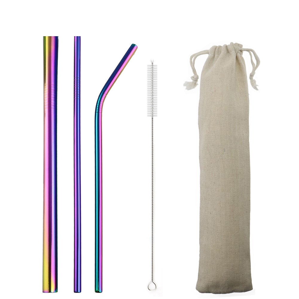 5pcs Reusable 304 Stainless Steel Straw Metal Smoothies Drinking Straight Straws Silicone Cover with Brush Bag Wholesale