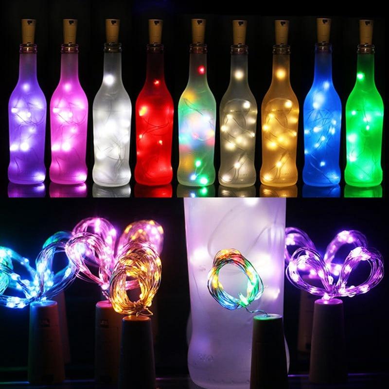 9 Colors 1M/2M/ Wine Stopper Wine Bottle Cork Lights Copper Wire LED String Lights For Wedding Festival Party Garland Decor