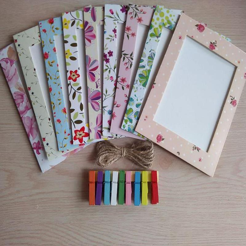 9pcs/set Photo Frame 6 Inch Creative Gift DIY Wall Hanging Paper Photo Frame Wall Picture Album  #A40