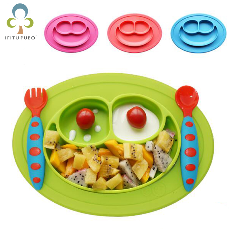 Baby Kids Dishes silicone infant Bowls Plate Tableware Kids food Holder tray Children Food Container Placemat baby feeding GYH