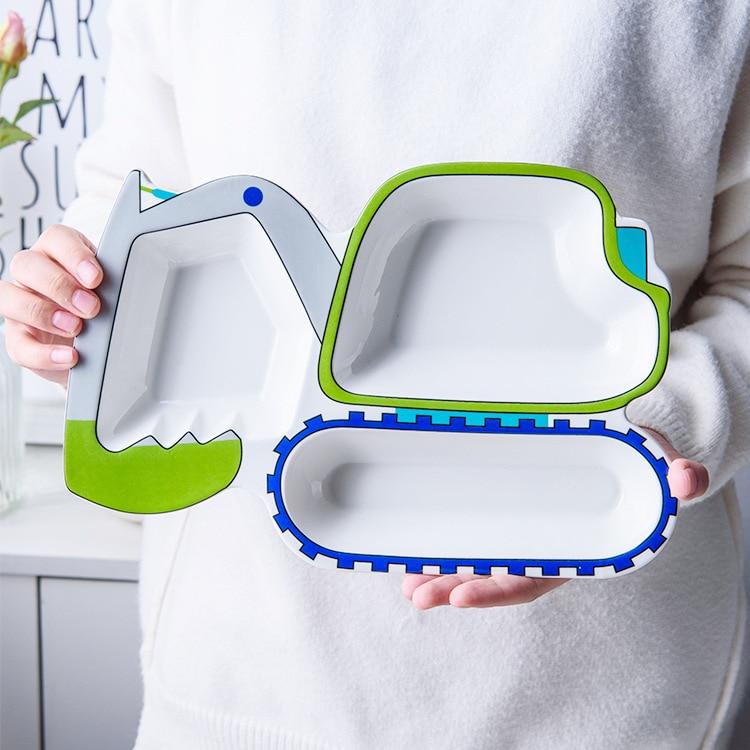 Cartoon Excavator Ceramic Dinner Dish Plate for Children Cute Kids Fruit Snack Dessert Rice Bowl Food Container Tableware