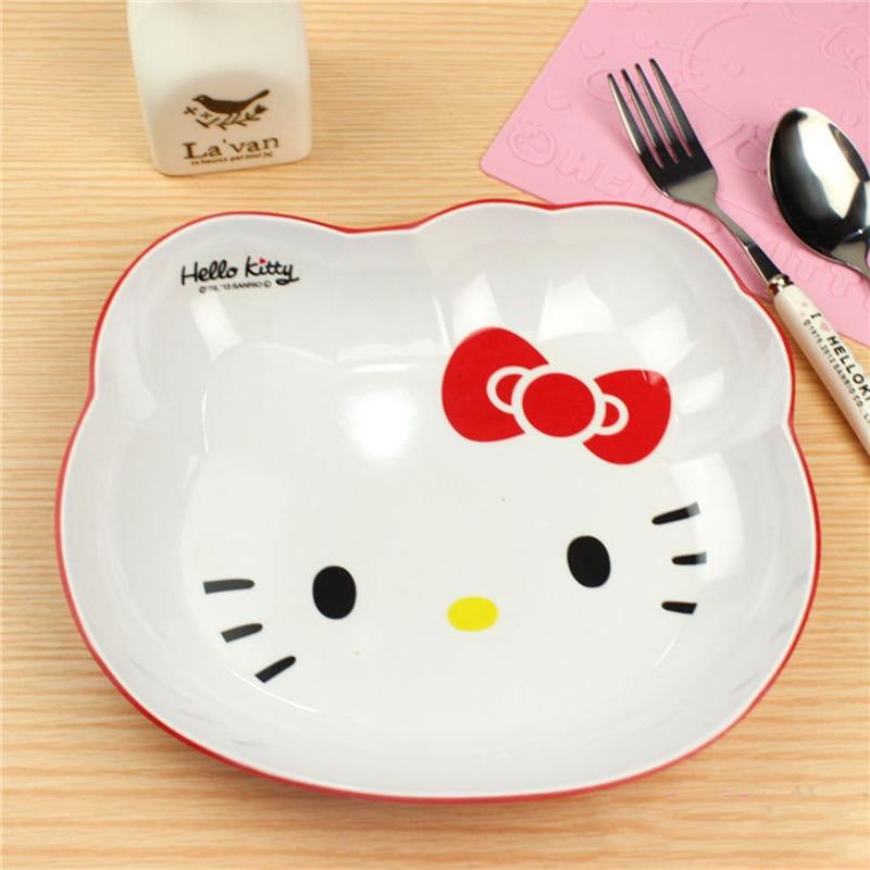 Cartoon Hello Kitty Decoration Dinner plates Snacks Fruit Dish Dessert Bowl Dishes Ice Cream Tubs Pudding Box Kitchen Bar Tools
